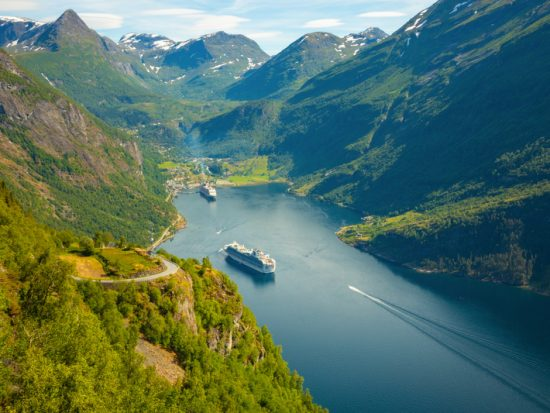 Geirangerfjord, Norway - Cruise Ship On Geiranger fjord in summer in Norway